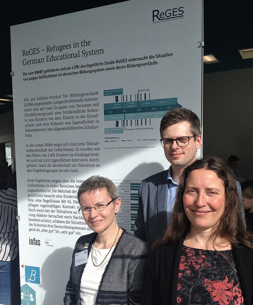 Dr. Jutta von Maurice, Dr. Dominik Weigand, and Dr. Gisela Will (from left to right) at the BMBF Educational Research Conference 2019