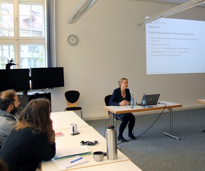 "Prof. Dr. Annette Fox-Boyer from the European University of Applied Sciences in Rostock talked about the ""Test for Reception of Grammar-Deutsch (TROG-D)"" at the LIfBi."