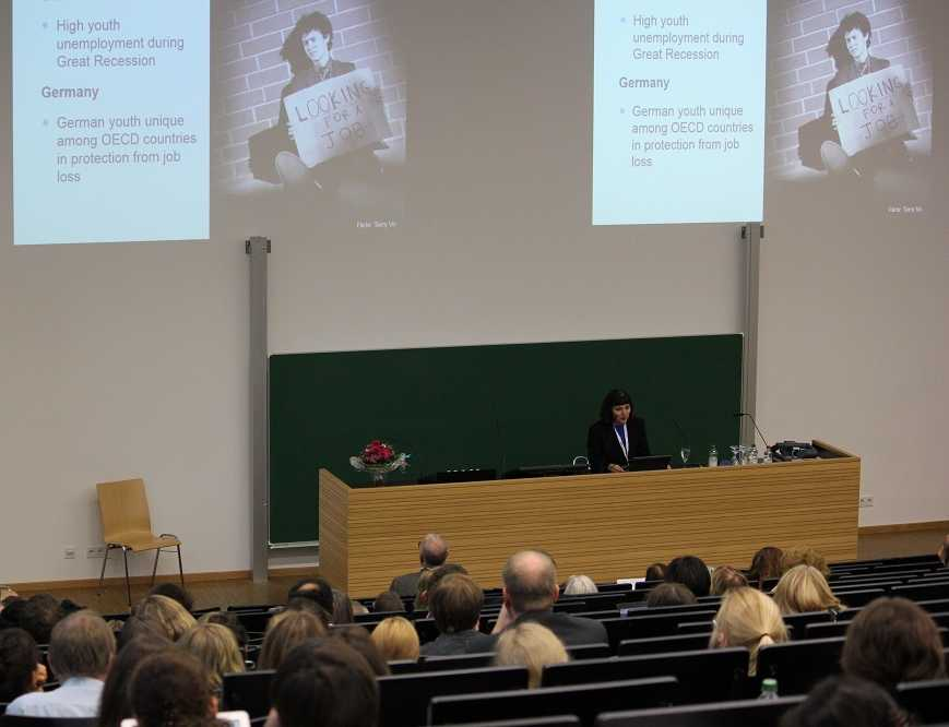 """The keynote by Prof. Jeylan Mortimer was entitled """"Higher Education, School-to-Work Transition, and Future Prospects: Converging Challances in the U.S. and Germany?"""""""